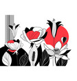 bright graphic card with flowers on a white vector image vector image