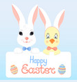 bunny and a chick with rabbit ears happy easter vector image vector image