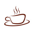 cafe hot coffee cup line art symbol logo design vector image