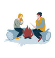 camping and frying marshmallow couple near vector image vector image