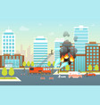 cartoon firefighting composition in city card vector image