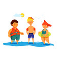 children on beach - colorful flat design style vector image vector image