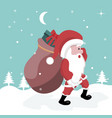 christmas card of santa claus walking in the snow vector image vector image