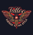 color moth in tattoo style vector image