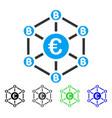 euro bitcoin network flat icon vector image vector image