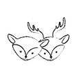figure cute deer head animal couple together vector image vector image