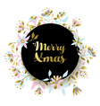 Gold christmas flower decoration for greeting card vector image vector image