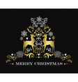 Gold Merry Christmas design of ornament reindeer vector image vector image