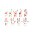 hand drawn hands signs with conceptual lettering vector image vector image