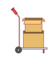 hand truck with cardboard boxes stacked and one vector image
