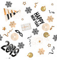 Happy new year 2019 seamless pattern with gold and