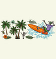 hawaiian and surfing colorful elements concept vector image