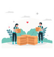 humanitarian aid people donate with love in flat vector image vector image