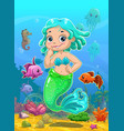little cute catoon mermaid vector image vector image