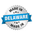 made in delaware silver badge with blue ribbon vector image vector image