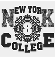 New York T-shirt with floral ornament vector image vector image