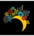 Night label with birds and flowers vector image vector image