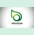 O leaf logo letter design with green leaf outline