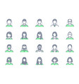 people avatar line icons vector image