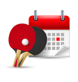 Ping pong rackets and calendar vector image vector image
