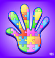 puzzle in hand vector image vector image