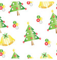 seamless pattern with christmas tree and bells vector image