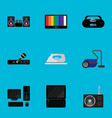 set of 9 editable tech flat icons includes vector image
