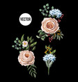 set of bouquets with peachy english roses vector image vector image