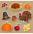 Set of Happy Thanksgiving holiday sticker object vector image