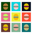set pixel icons hamburger vector image vector image