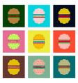 set pixel icons hamburger vector image