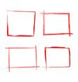 set red rectangles brush strokes as frames vector image
