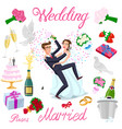 set wedding just married couple with hearts vector image vector image