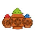 three powder color mud pot and mandala vector image vector image