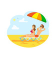 tourism man and woman couple on sunny beach vector image vector image