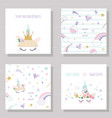 unicorn cute cards and seamless patterns set vector image
