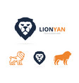 unique animal and lion logotype design template vector image vector image