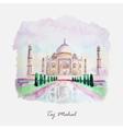 Watercolor Taj Mahal picture India culture vector image