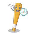 with clock baseball bat character cartoon vector image vector image