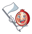 with flag cartoon fresh pomegranate and its half vector image