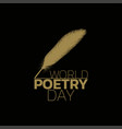 world poetry day logo icon design vector image vector image