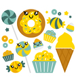 Cute sweet cartoon candy set vector image