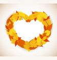 Autumn Leaves background with heart vector image