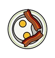 Eggs and bacon Four delicious fried eggs and vector image