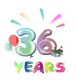 36th happy anniversary celebration vector image vector image