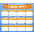 American Calendar for 2017 Week starts on Sunday vector image vector image