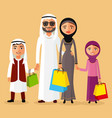 arab couple with children shopping together vector image vector image