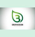 b leaf logo letter design with green leaf outline vector image vector image