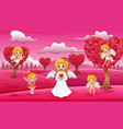 cartoon a group of cupid on the field pink vector image vector image