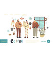 characters drinking coffee landing page template vector image vector image